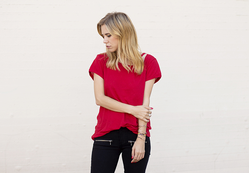 Always Judging in a red LNA tee