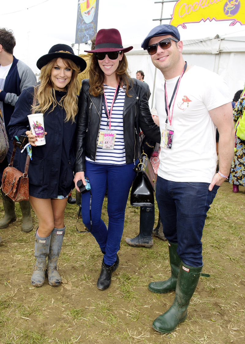 Caroline Flack with Dee Koppang and Dermot O'Leary in Glastonbury wearing the Love To Loose Parka