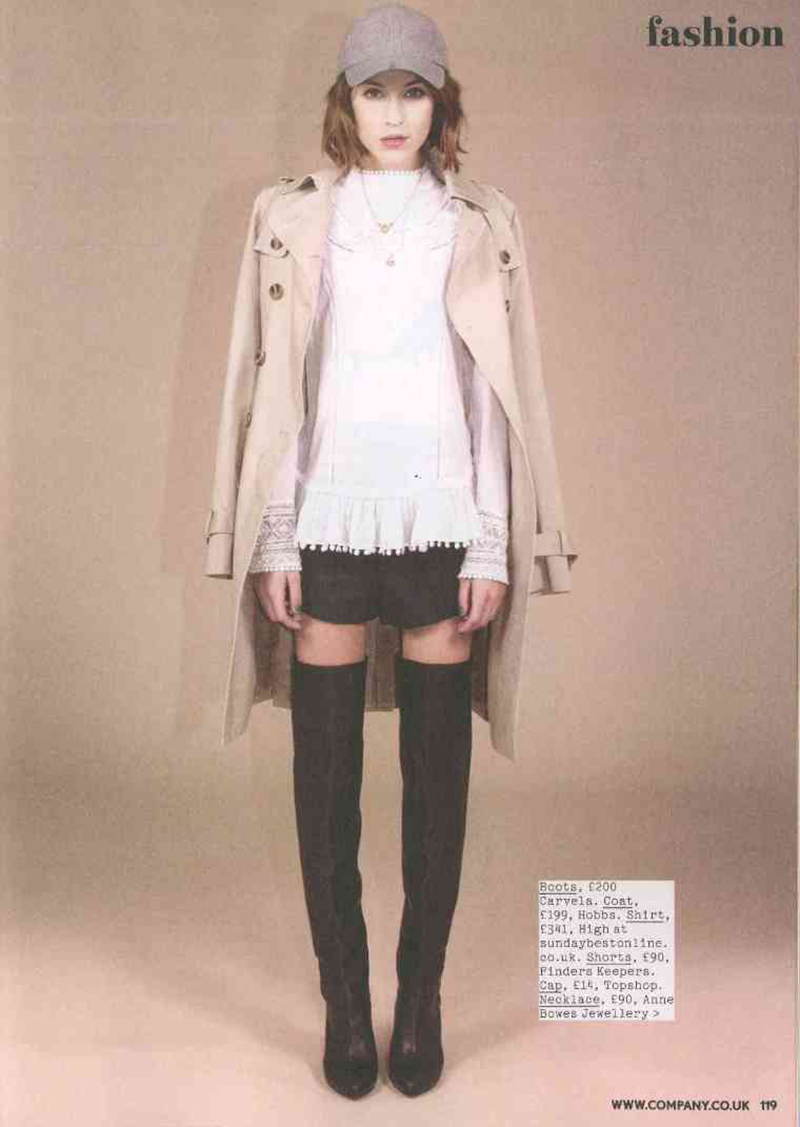 Ella Catliff from La Petite Anglaise in the Finders Keepers Thunderball Shorts in Company's November issue