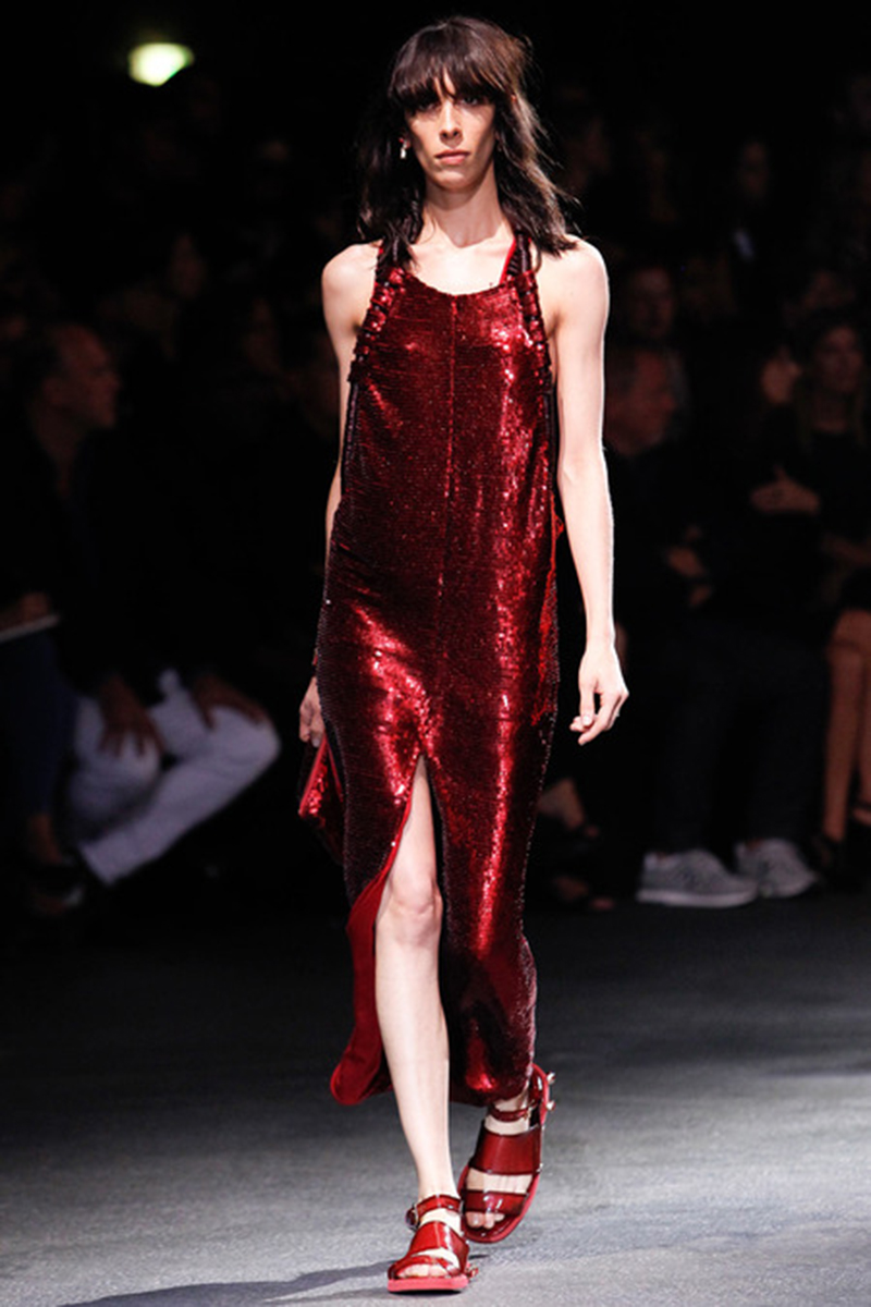 Red sequins at Givenchy at Paris Fashion Week SS14