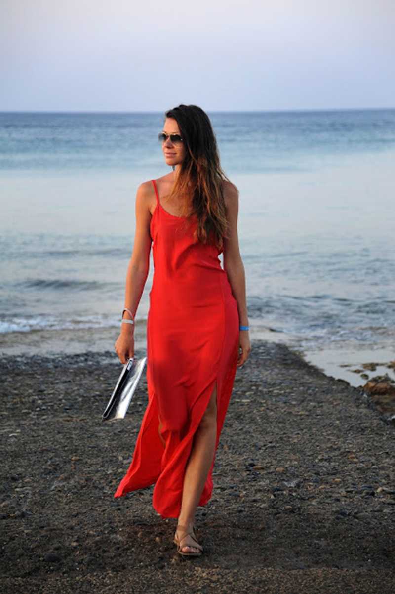 Fashion blogger Julia Shutenko in the LNA Powell Slip Dress