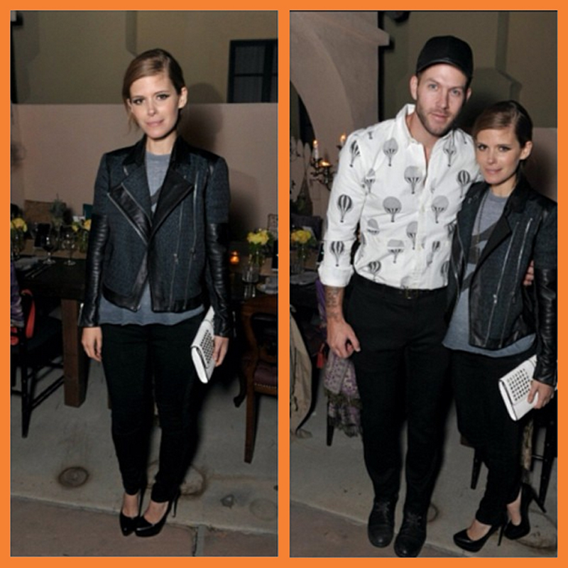 "Kate Mara (pictured with her stylist Johnny Wujek) wearing Genetic denim. Read an interview with the two bezzie mates at Elle.com (US) where she's saying she's ""obsessed"" with the brand and ""loves their stuff""."