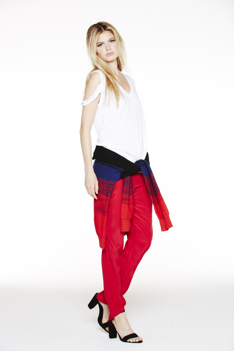 LNA Holiday 2013 Donnie Sweater and Ruby Cutout Tee and Alexa Silk Pant