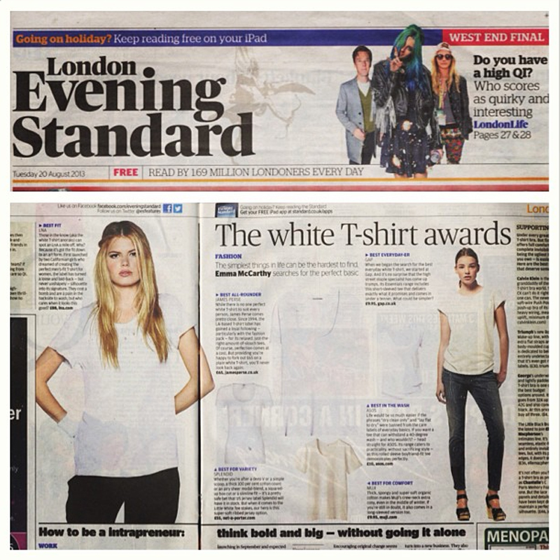 LNA wins BEST FIT in the Evening Standard's The White T-Shirt Awards