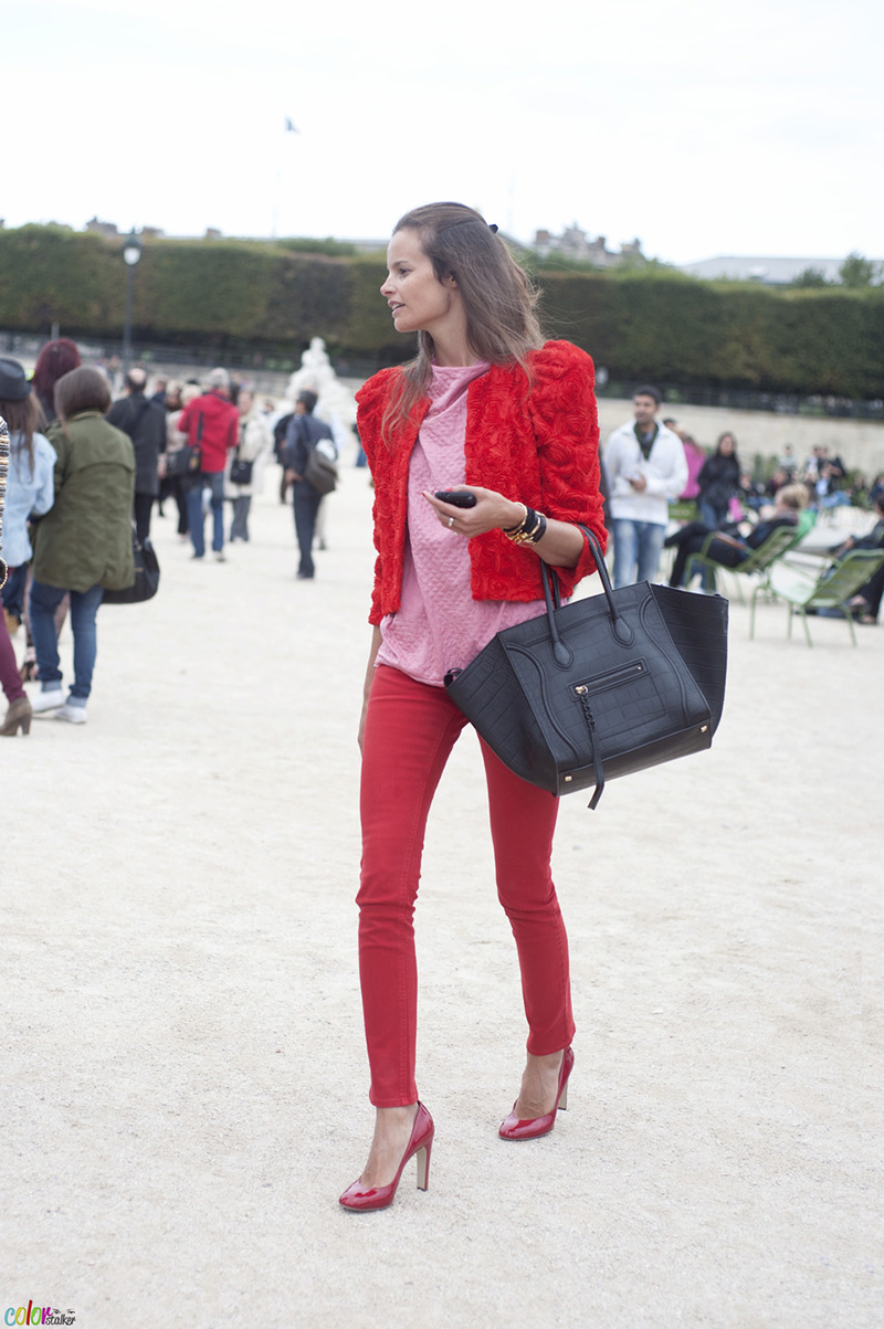 Colour blocking red and pink at Paris Fashion Week