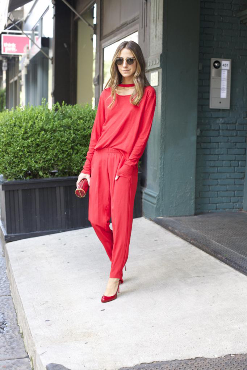 Fashion blogger Something Navy in all over red LNA