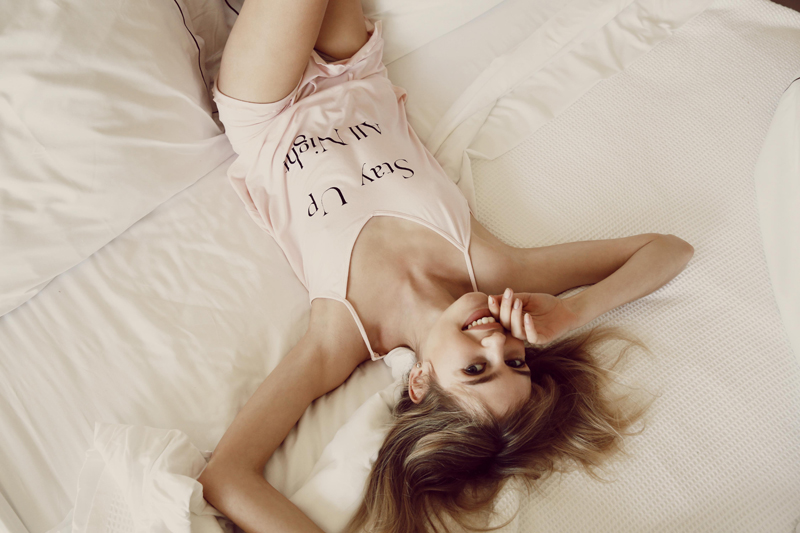 Wildfox PJs Holiday 2013 Stay Up All Night and Sleep All Day Cami Set with ruffle short