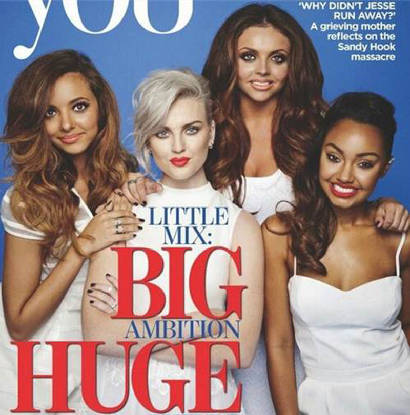 Jade Thirlwall (far left) from Little Mix wearing the Finders Keepers Tightrope Playsuit on the cover of the latest You Magazine
