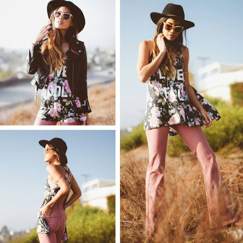 Fashion blogger Jill Wallace of Little Black Boots in the Wildfox Love Fool Indian Tank