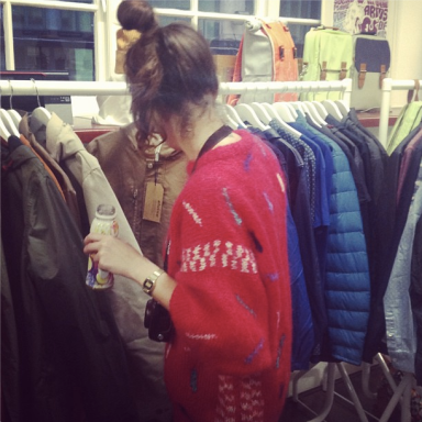 Visitor at Fabric PR Press Day looking at Elvine, from @girlfabric Instagram