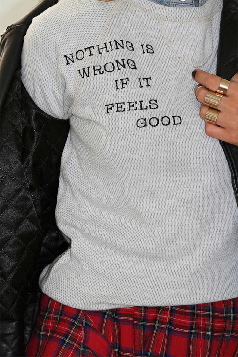 tamara glam and glitter junk food nothing is wrong if it feels good long sleeve tee