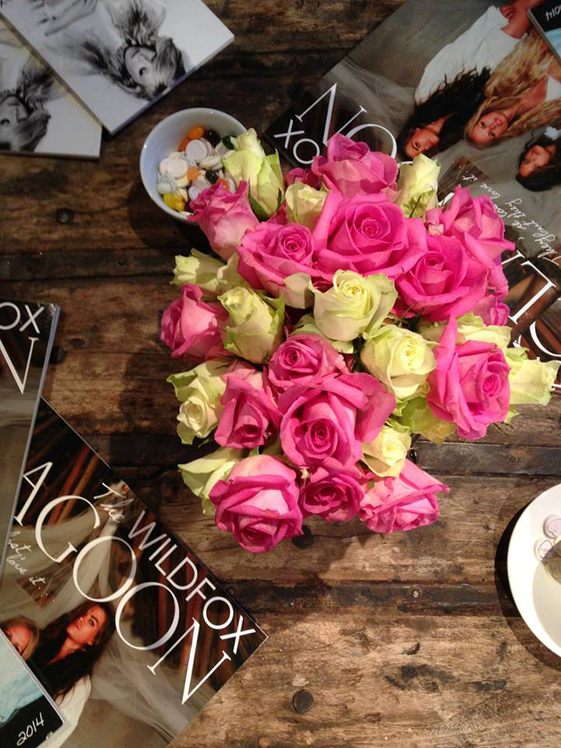 Beautiful roses at the Wildfox London slumber party