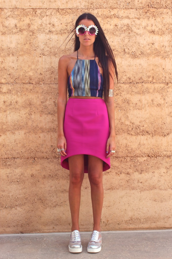 How Two Live in the Finders Keepers Wildfire Skirt in fuchsia
