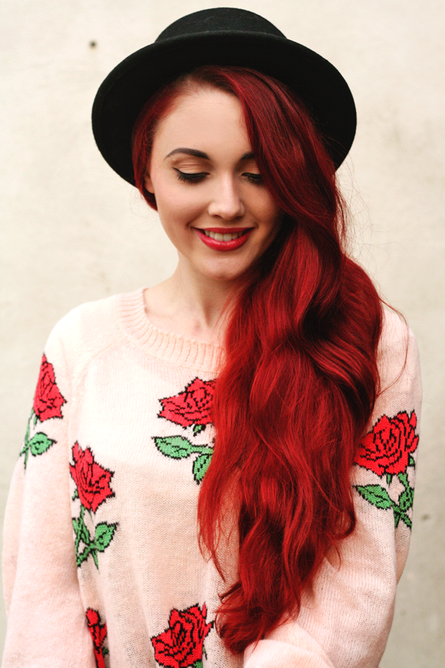 Megan from Briar Rose blog wearing the Wildfox A Rose Is A Rose Pfeiffer Sweater