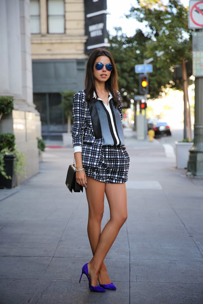 Annabelle Fleur from Viva Luxury wearing a tartan ensemble by Finders Keepers: the Daydream Jacket and the Gone Tomorrow Shorts