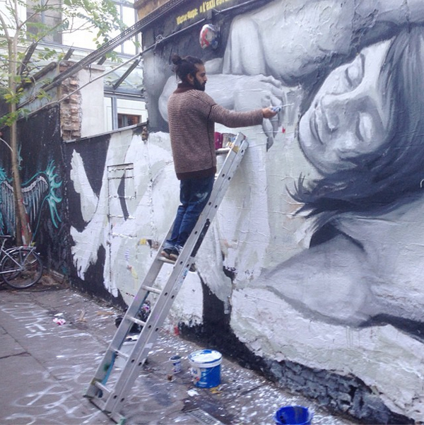 Berlin street artist caught by Elvine Clothing Instagram