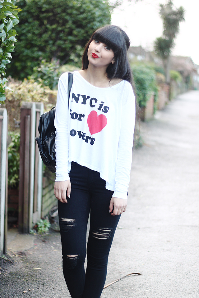 Dunya from Dearest Deer in the Wildfox City Of Love Lazy Weekend Long Sleeve T