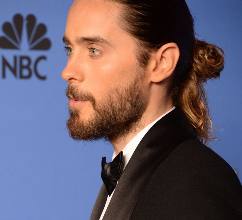 Jared Leto Golden Globes 2014 beard and bun