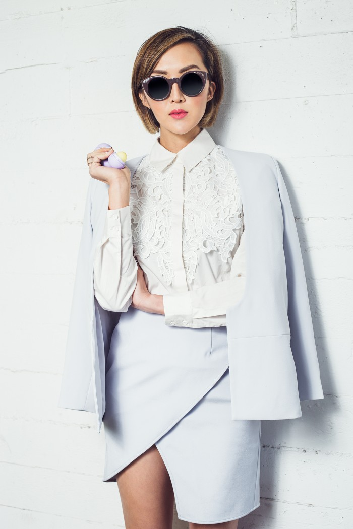 Chriselle Lim in Finders Keepers the Label's Inner Light Jacket and Seen It All Skirt from the Inception Collection