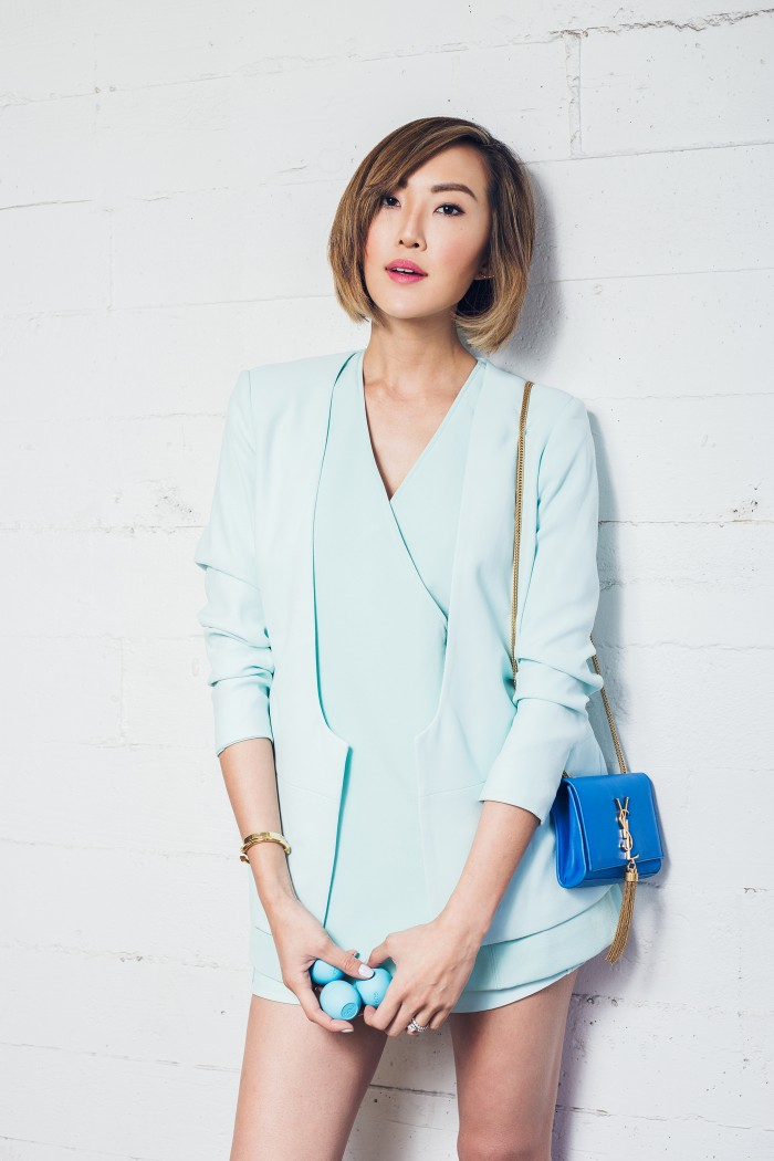 Chriselle Lim in Finders Keepers the Label's No One Like You Short and Inner Light Jacket from the Inception Collection
