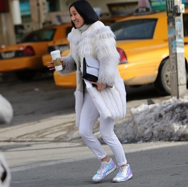 Eva Chen, Lucky Mag's editor-in-chief in the Genetic Denim Shya in winterwhite