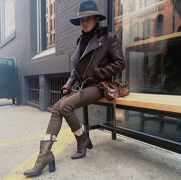 Lust For Life's Olivia in the Genetic Denim Shya in leather in New York during Fashion Week