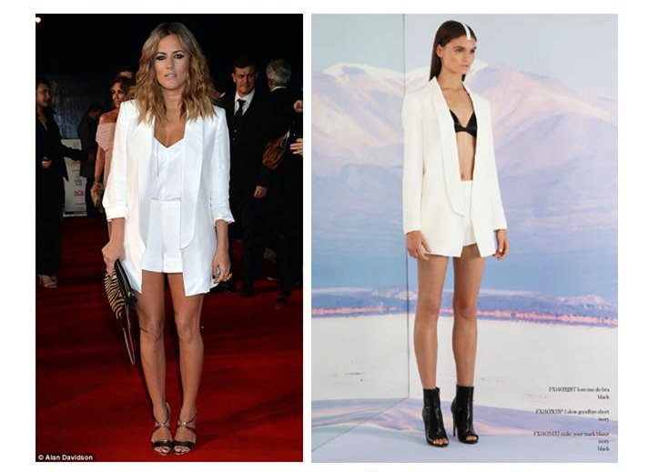 Caroline Flack in the Make Your Mark Blazer and the Slow Goodbye Short