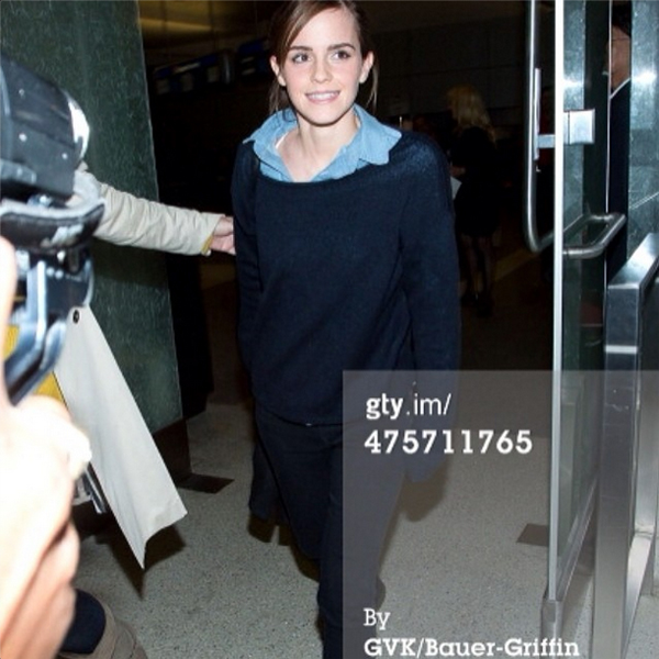 Emma Watson in the Genetic Denim Shya in Dark Tin