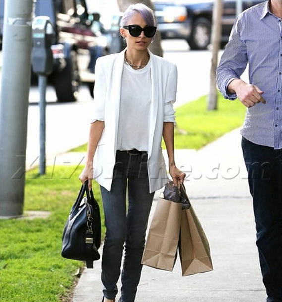 Nicole Richie sporting pastel purple hair and the Shya in Gaze by Genetic