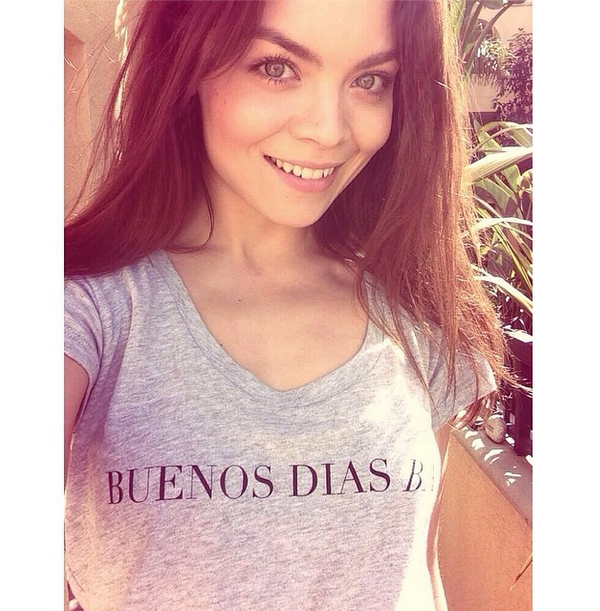 British actress Scarlett Byrne in the Buenos Dias Baby Tee by LNA