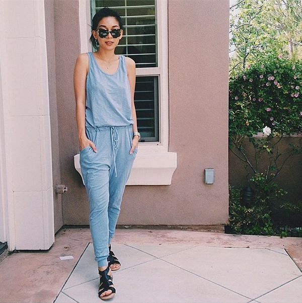 Stephanie Liu from Honey & Silk in a Sundry Clothing jumpsuit