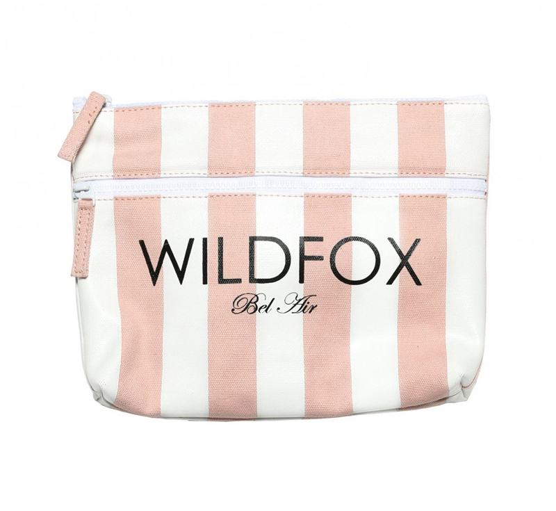 Wildfox Bel Air Stripe canvas bikini bag in pink