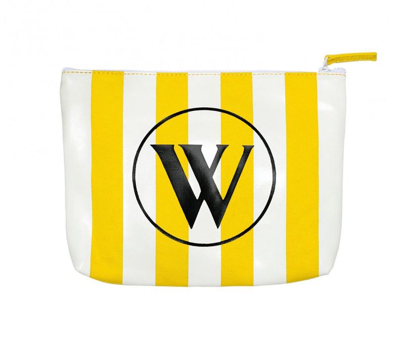 Wildfox Bel Air Stripe canvas bikini bag in yellow