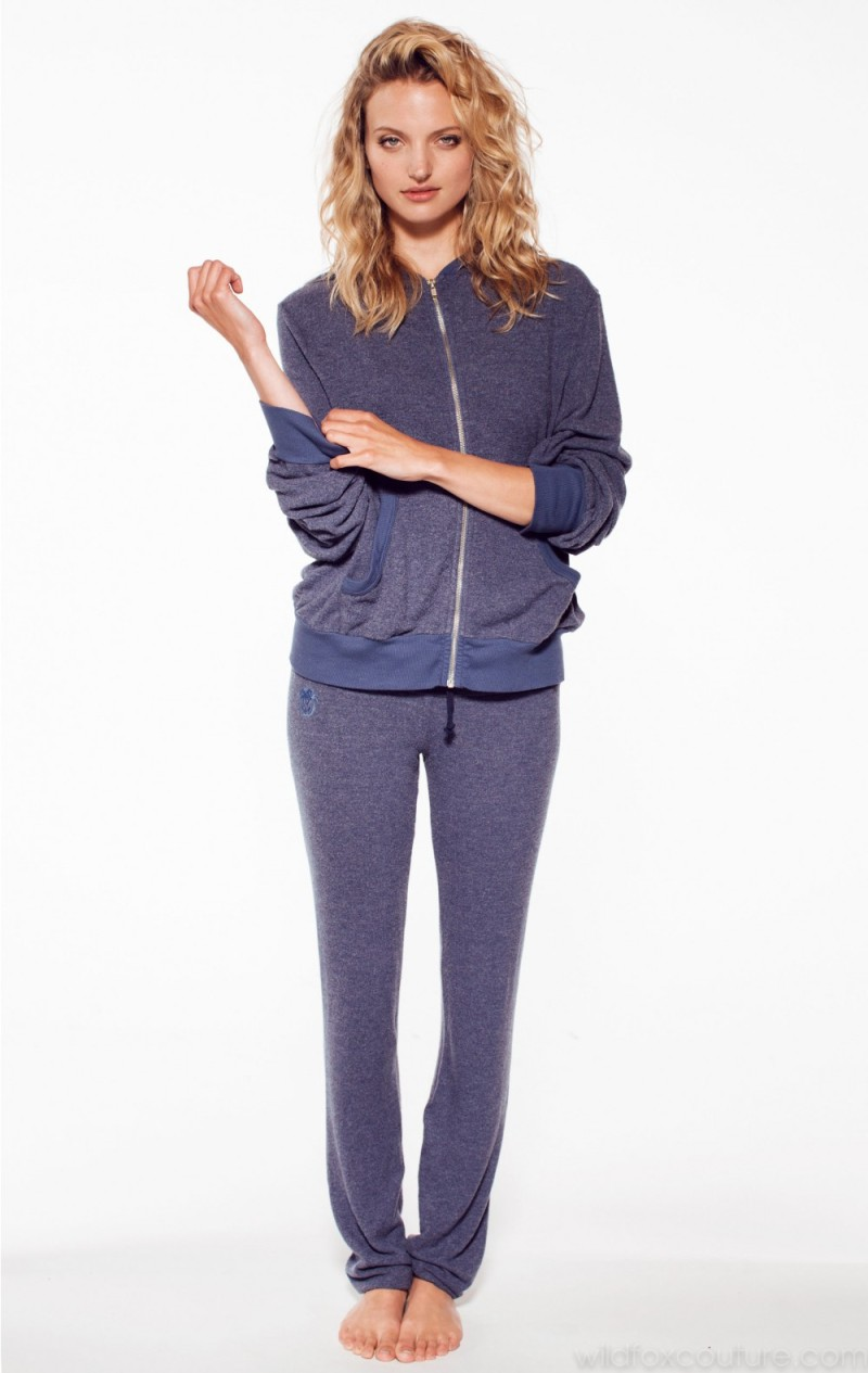 Wildfox Essentials Malibu Zip Up Uniform Navy