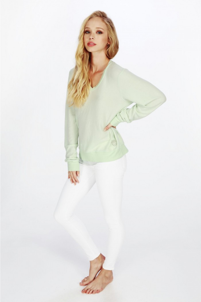 Wildfox Essentials V Neck Baggy Beach Jumper Sour Lime