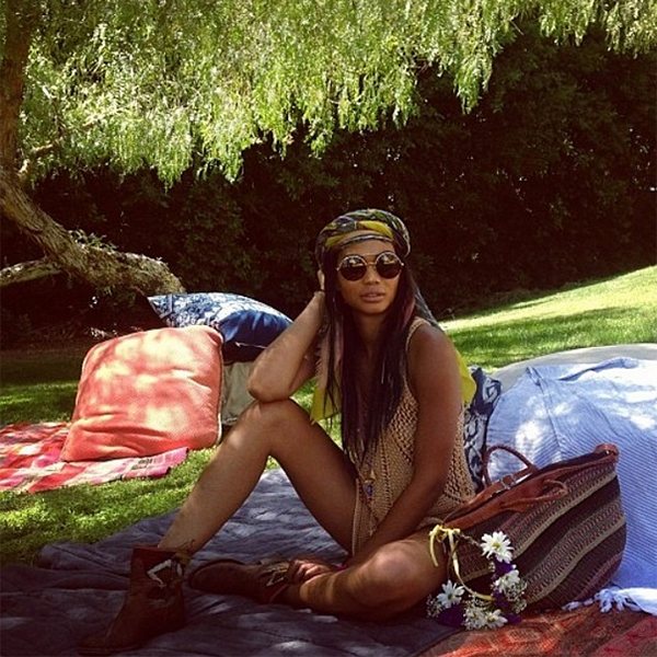 American model Chanel Iman wearing the Wildfox Sun Starstruck Frame