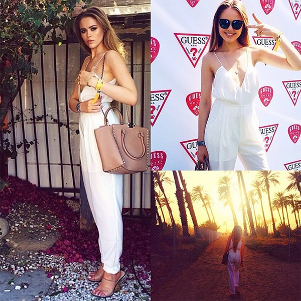 Blogger Kristina Bazan in the Finders Keepers Dream On Jumpsuit from the label's Gattaca range