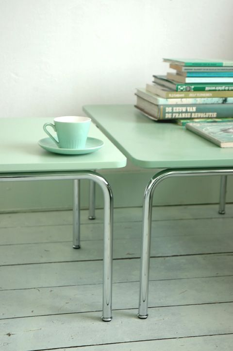 pastel mint table