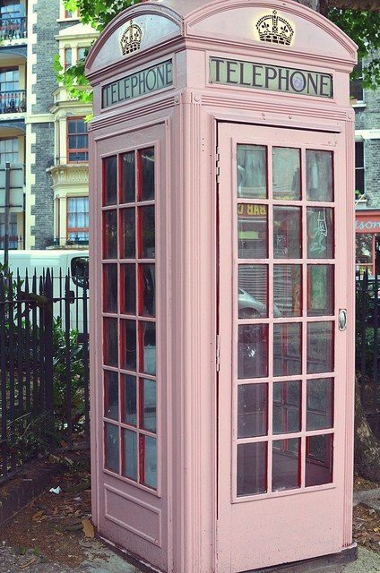 pastel pink british phone box