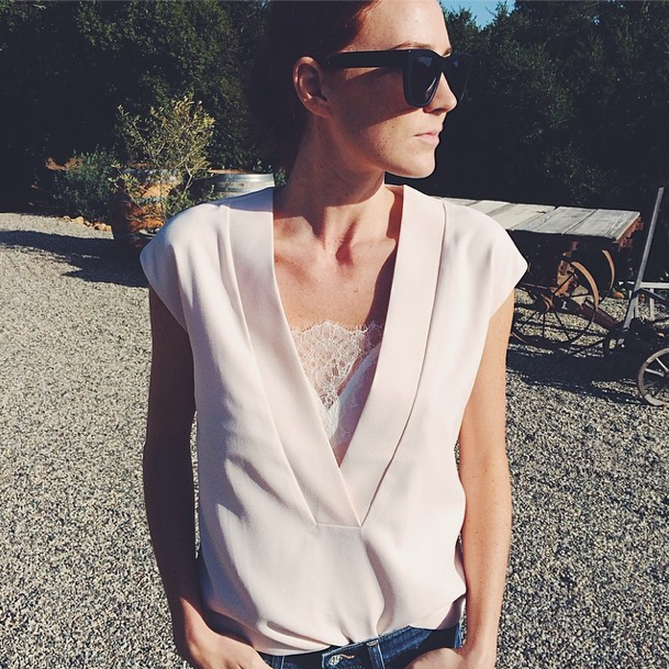 "Samantha Wennerstrom of Could I Have That in the Electric City Top by Finders Keepers the Label's collection ""Gattaca"""
