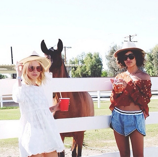Blogger Trop Rouge (pictured right with Always Judging) wearing the denim Atlantic City Shorts by Finders Keepers