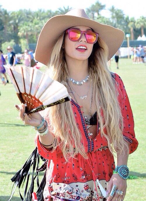 Vanessa Hudgens sporting long blonde locks and Wildfox Sun Classic Fox in red