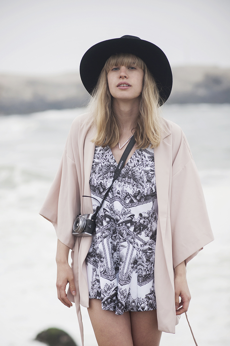 Lisa from Just Another Fashion Blog in the Here Comes The Sun Playsuit by Finders Keepers