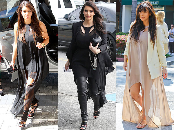 Kim Kardashian wearing the Come Running Dress by Finders Keepers whilst pregnant with North West
