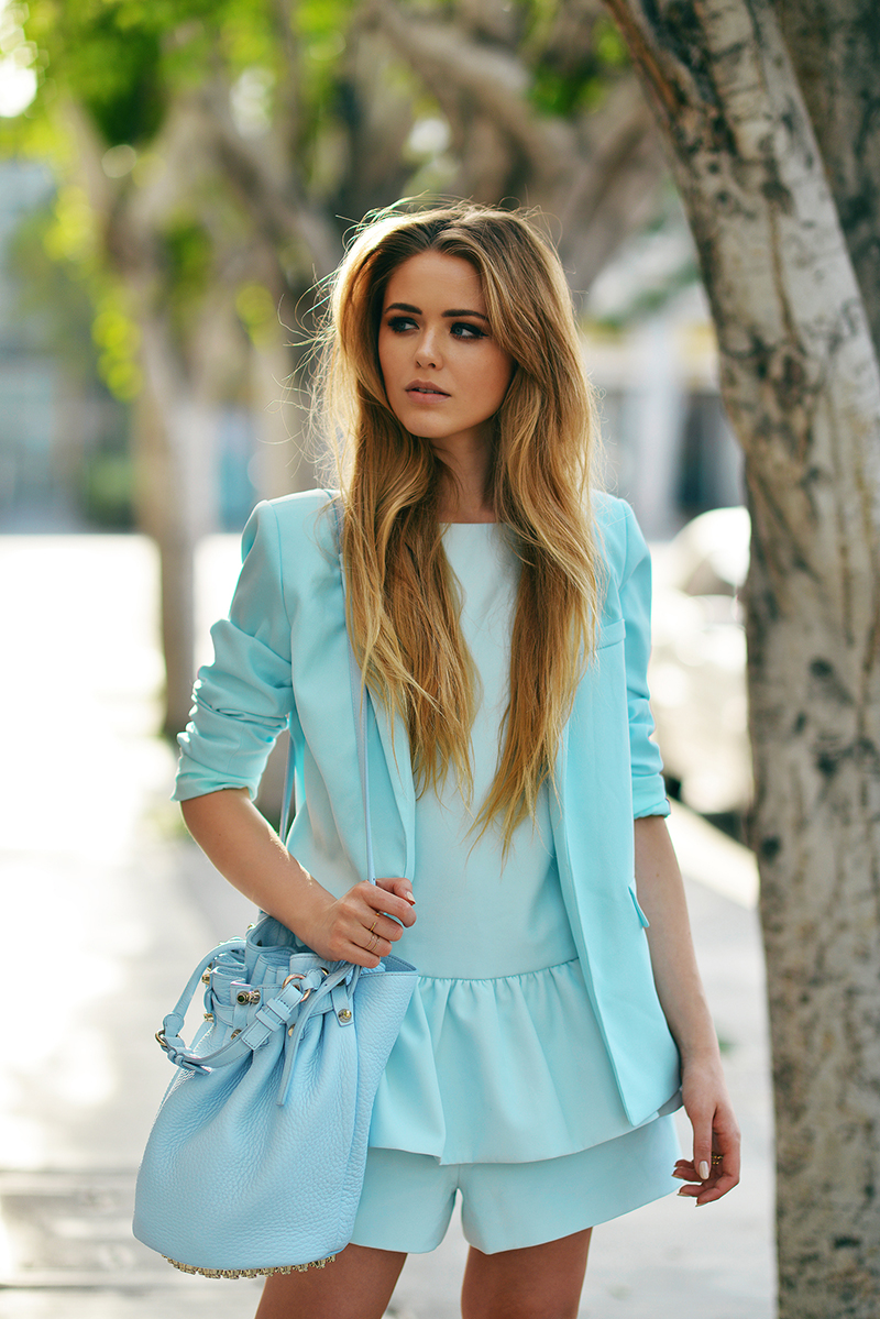Kristina Bazan in the Strange Fire Playsuit from The Downside and the Haven't You Heard Blazer from the Gattaca range