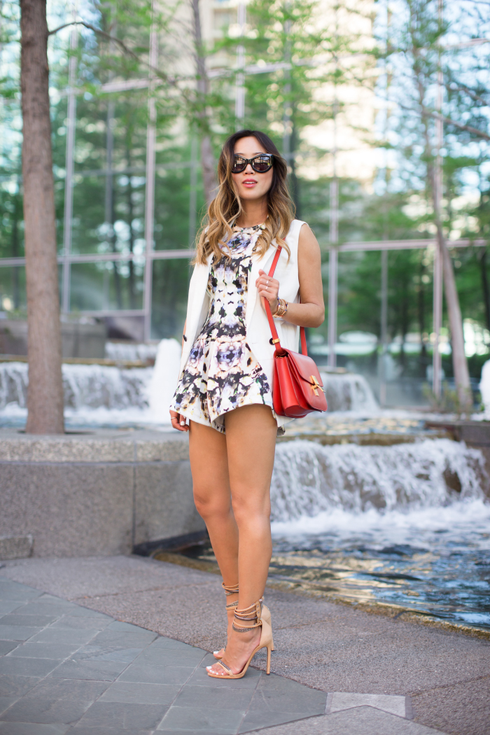 Song Of Style in a playsuit from Finders Keepers Inception collection and Wildfox sunglasses