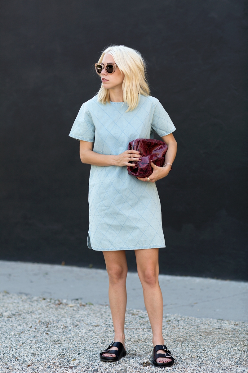 Always Judging in the Jaggar the Label LA Dress in quilted denim