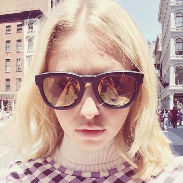 Laurel wearing WILDFOX Sun Classic Fox sunglasses in black matte whilst in NYC