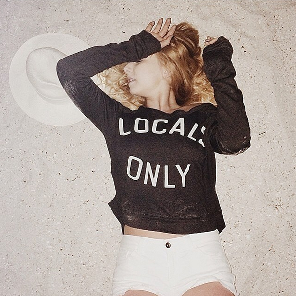 Nicole Alyse in the Sundry Locals Only Cropped Pullover