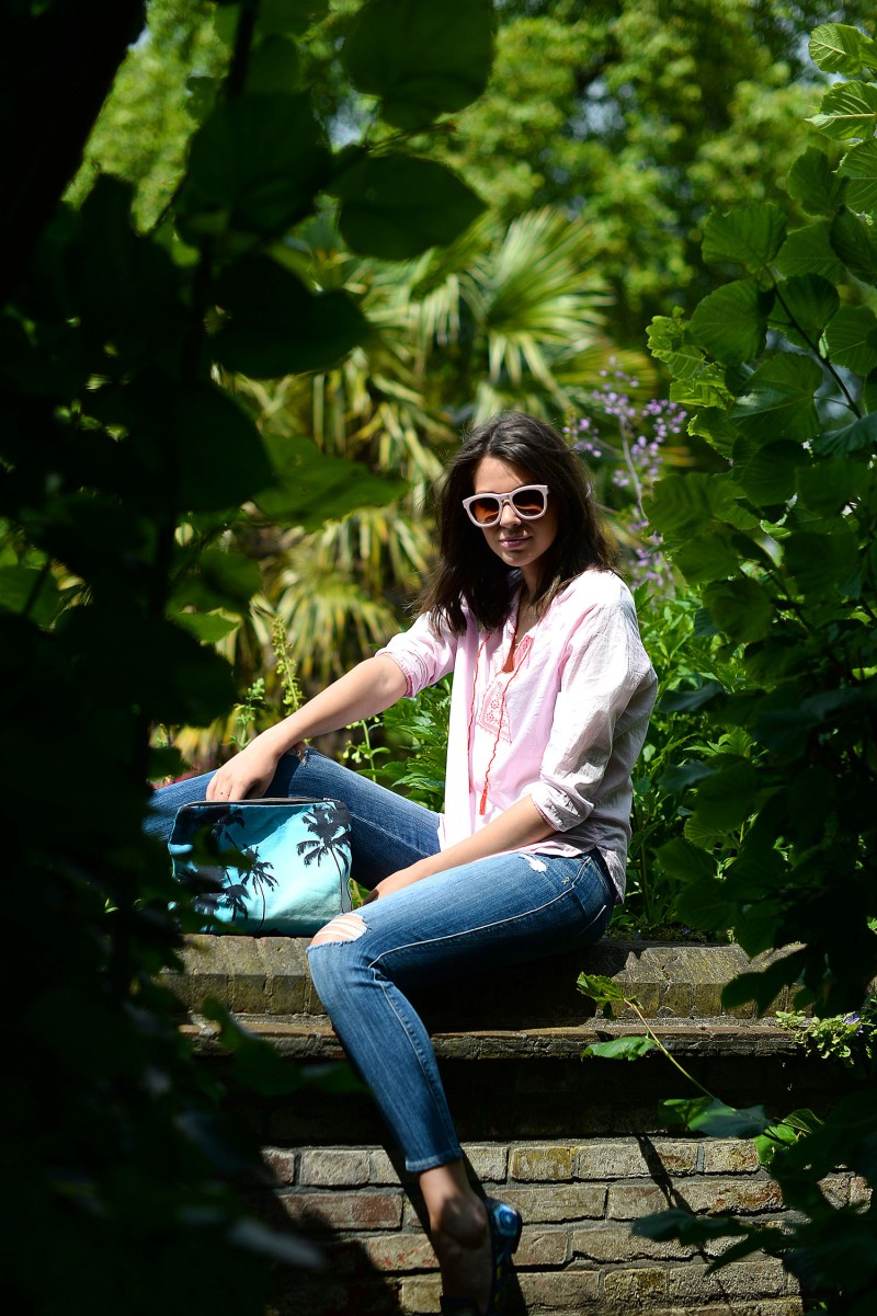 Julia Lundin (formerly Julia Shutenko) wearing Wildfox sunglasses, Sundry blouse and Genetic denims
